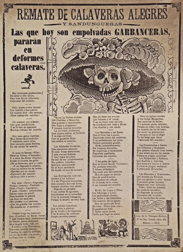 An image of a Mexican newspaper featuring a satirical drawing showing a skeleton wearing a fancy European hat.