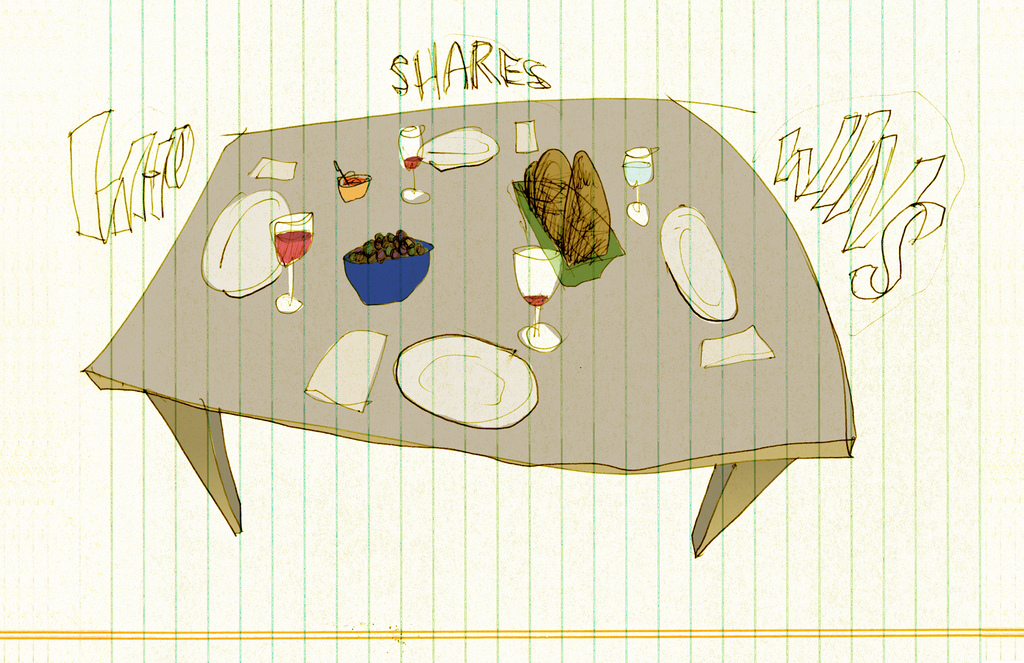 A loose and somewhat distorted line drawing of a table with plates and food on it. Around the table are the words: WHO SHARES WINS. The drawing is on lined paper turned vertical.